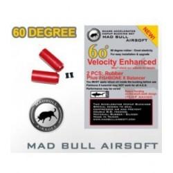 Pack gomas Madbull ROJAS Shark silicona + nud fishbone 60 grados