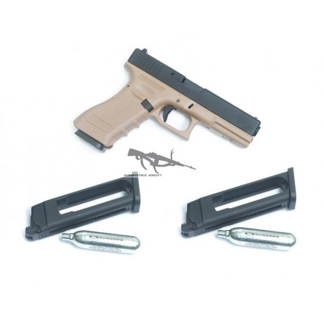 KJW Glock 17 TAN METAL 2 CARGADORES CO2